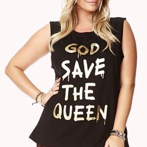 God Save the Queen Distressed Graphic Black Tank S
